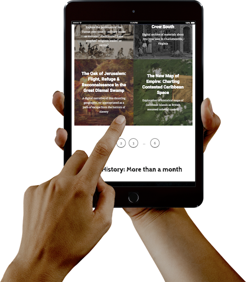 image of two hands holding an iPad with the project on-screen