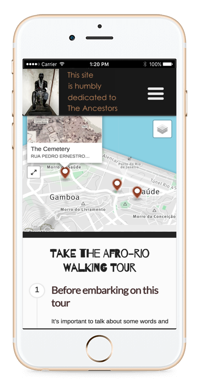 An iPhone screen showing a map of the tour path