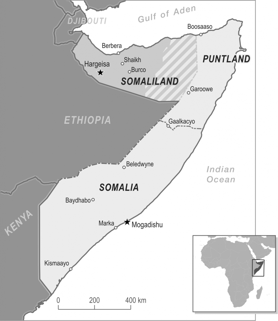 b&w informational map of Somaliland, Puntland and Somalia