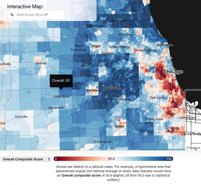 a colorful map showing areas of deep blue to deep red, across the greater Chicago area