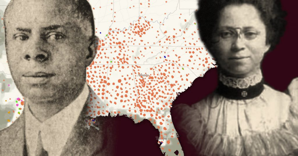 A photograph of Mr. & Mrs. Work superimposed upon a map of the United States