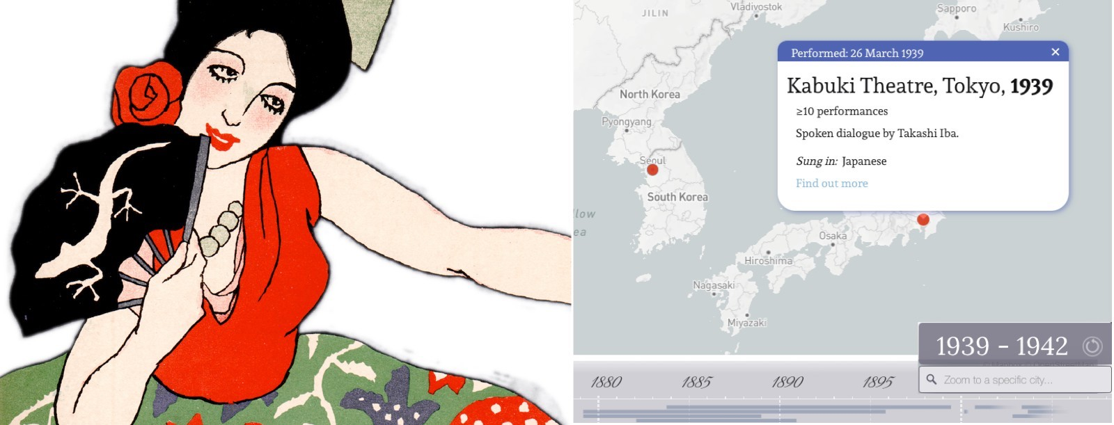split image: left, a 19th century artistic drawing of the character Carmen, from a playbill; right, a screenshot of the interactive map