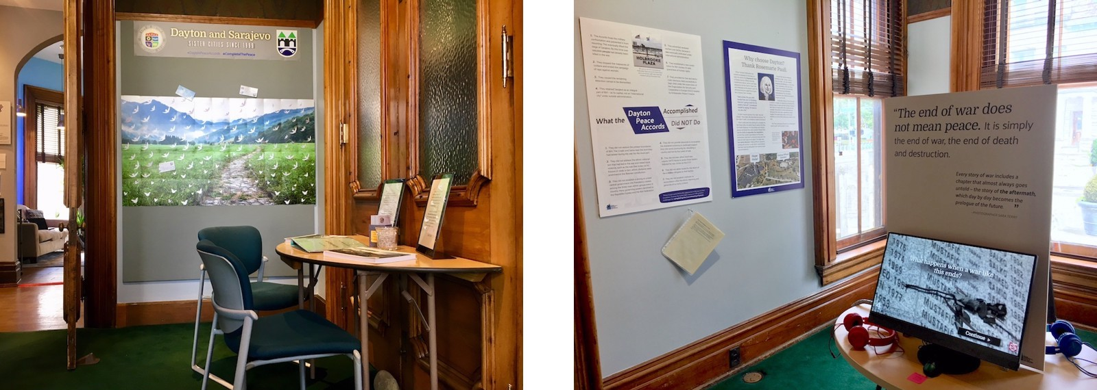 two photographs of the tables, wall panels and kiosk in the Dayton Peace Exhibit