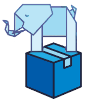 small logo with a paper elephant standing atop a blue package box