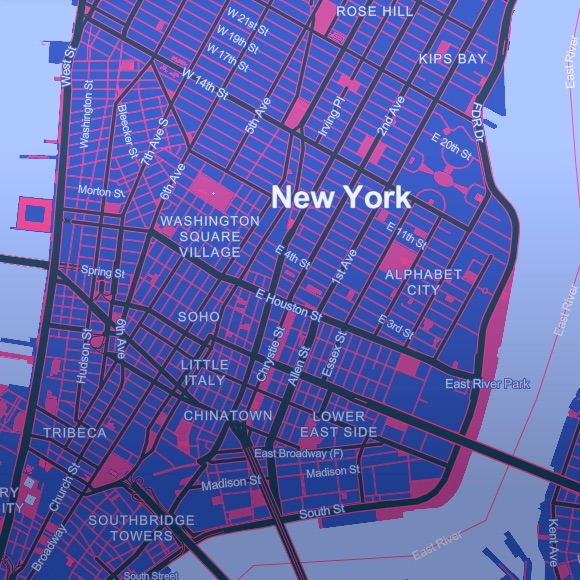 a purple and magenta colored map of lower Manhattan