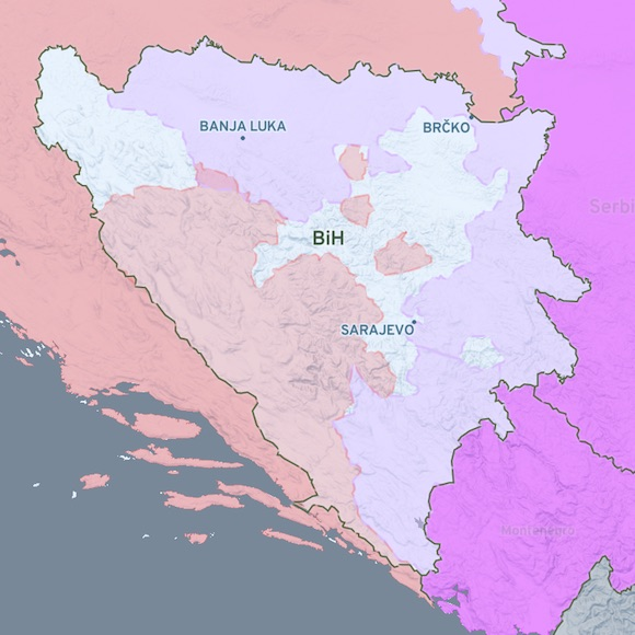 map of Bosnia-Hercegovina with various parts of territory colored in pink, light purple, or magenta, indicating military control in 1995