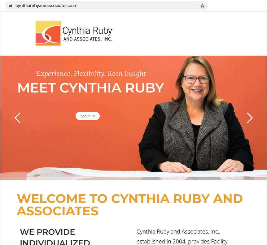 screenshot from the website, CynthiaRubyAndAssociates.com